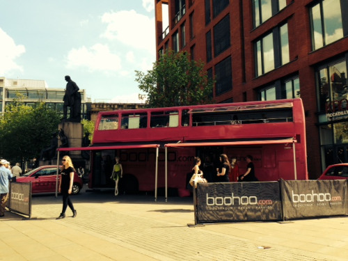 Boohoo Manchester Promotional Bus